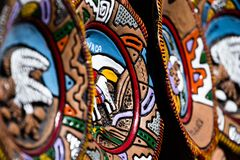 Souvenir masks from argentina, South America. Royalty Free Stock Photography