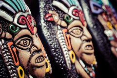 Souvenir masks from argentina, South America. Stock Photo
