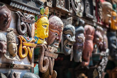 Souvenir masks at Nepal market Stock Photos