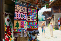 Souvenir mats. Souvenir woven rugs from a small village in Bulgaria. Zhravna. Bulgaria Royalty Free Stock Image