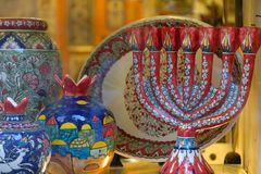 Souvenir menorahs in Old City of Jerusalem. Stock Image