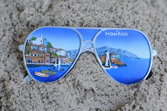 Souvenir from Monaco in the sand Royalty Free Stock Photo