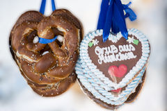 Pretzel and Gingerbread-Heart from Munich Stock Photo