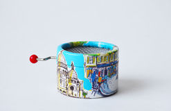 Souvenir musical-box with views of Paris on its sides Royalty Free Stock Photo