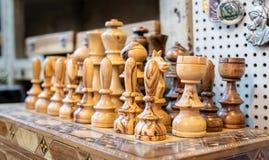 Souvenir olive wood chess for sale at old market. Jerusalem. Israel stock photo