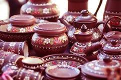 Souvenir painting pots. Photo for a design royalty free stock photos