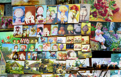 Souvenir paintings sold on the street Stock Photos