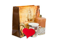 Souvenir paper bag, gifts and heart made of red paper Royalty Free Stock Photo