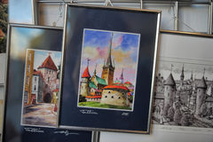 Souvenir pictures with views of Tallinn Royalty Free Stock Images