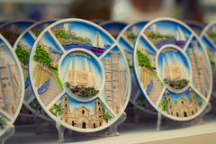 Souvenir plates Torrevieja. TORREVIEJA, SPAIN - SEPTEMBER 8, 2014: Souvenir plates in the tourist shop Torrevieja, Valencia, Spain Stock Images
