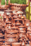 Souvenir pottery on market stand outdoor Royalty Free Stock Image