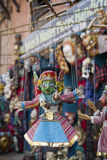 Souvenir puppets hanging in  the street shop in Bhaktapur, Nepal Stock Images