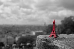 Souvenir of red mini eiffel tower Stock Photos