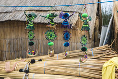 Souvenir from reed on Floating islands Titicaca Stock Photography