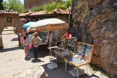 Souvenir seller in Ohrid, Macedonia Stock Photo