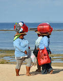 Souvenir Sellers Head Home, Bali Indonesia Stock Photos