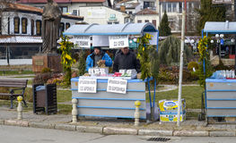 Souvenir sellers in Ohrid on the Day of Epiphany, in Ohrid, Macedonia Royalty Free Stock Images