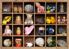 Souvenir shelf vintage Stock Photos