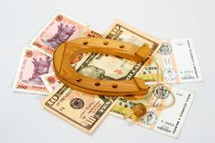 Souvenir shoe is on the banknotes Royalty Free Stock Photos