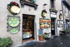 Souvenir shop. In Orvieto of handmade products stock photos