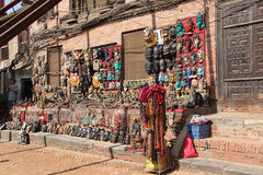 Souvenir shop in Bhaktapur Durbar Square, Nepal Stock Photography