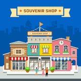 Souvenir shop on blue background Stock Photo