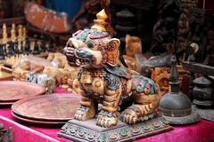 A souvenir at a shop: bronze lion statue at Bhaktpur Darbur Square Royalty Free Stock Images