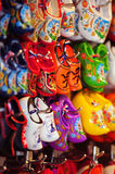 Souvenir shop display with colorful Dutch wooden shoes Royalty Free Stock Photos