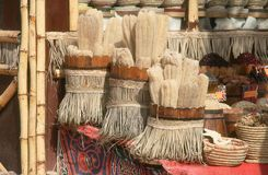 Souvenir shop in Egypt. Wood barrels full of natural washclothes and other stuff in a souvenir shop. Egypt, Sharm El Shaikh Stock Image