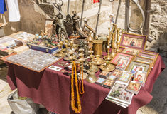 Souvenir shop and ethnic clothes in the tourist area of Budva. Montenegro Stock Images