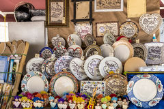 Souvenir shop and ethnic clothes in the tourist area of Istambul Turkey Stock Image