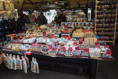 Souvenir shop at famous Havels Market in first week of Advent in Christmas Stock Photography
