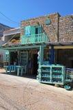 Souvenir shop in greek village Plaka, Crete, Greece. stock photos