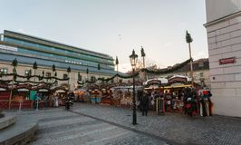 Souvenir shop at Havel Market in second week of Advent in Christmas stock image