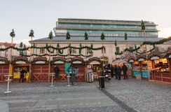Souvenir shop at Havel Market in second week of Advent in Christmas stock images
