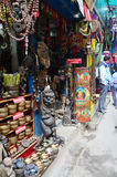 Souvenir shop and Local people on the street at Thamel market Stock Image