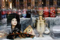 Souvenir shop in Moscow. Shop window of souvenir shop in Moscow, Russia Royalty Free Stock Photo