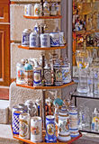 Souvenir shop in Munich Germany with beer mugs on display outside. Munich, Germany - souvenir shop in city center offers on display great assortment of artistic stock photography