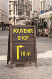 Souvenir shop notice board in the street Royalty Free Stock Image