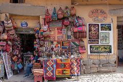 A Souvenir Shop in Peru. A typical souvenir shop in the Sacred Valley of the Incas in Peru royalty free stock photography
