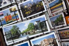 Souvenir shop with postcards in Amsterdam Royalty Free Stock Photography
