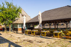 Souvenir shop and restaurant in Kusturica Drvengrad, Serbia Stock Photos