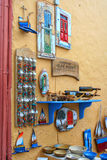 Souvenir shop in Santorini island, Greece. Oia, Fira town. Traditional and famous houses and churches over the Caldera Stock Image