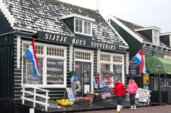 Souvenir shop and tourists in holiday resort Marken Stock Photos