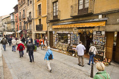 Souvenir shop and tourists in Segovia, Spain Royalty Free Stock Images