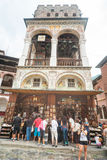 Souvenir shop under the belfry Rila Monastery in Bulgaria Royalty Free Stock Images