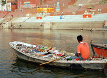Souvenir shop in the waters of the Ganges Stock Photos