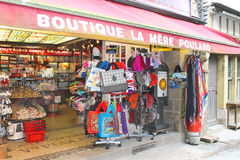 Souvenir shop in the yard abbey of Mont Saint Michel. Normandy,. France royalty free stock photo