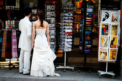 Souvenir Shopping After Wedding in Paris stock images