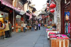 Souvenir shops in the ancient Old Street in the city of Tunxi, China Stock Photography